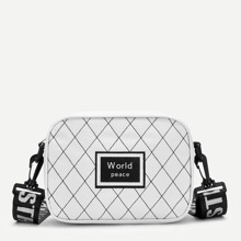 Patch Decor Argyle Crossbody Bag With Guitar