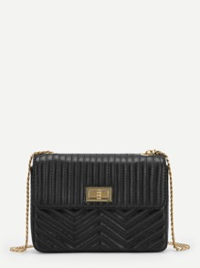Twist Lock Chevron Chain Crossbody Bag