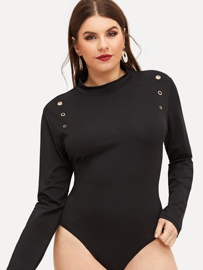 Plus Choker Neck Crushed Velvet Bodysuit