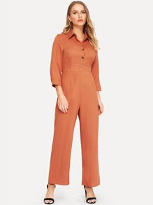 Half Placket Wide Leg Utility Shirt Jumpsuit