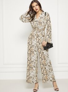 Wrap Front Keyhole Back Belted Snakeskin Palazzo Jumpsuit