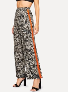 Contrast Side Leopard Print Wide Leg Pants