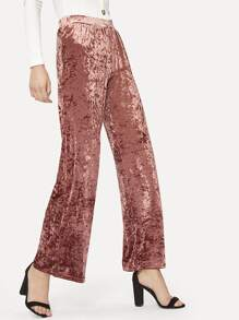 Wide Leg Crushed Velvet Pants