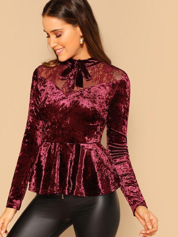 a791a36fb98f19 Bow Embellished Lace Yoke Velvet Peplum Top | SHEIN