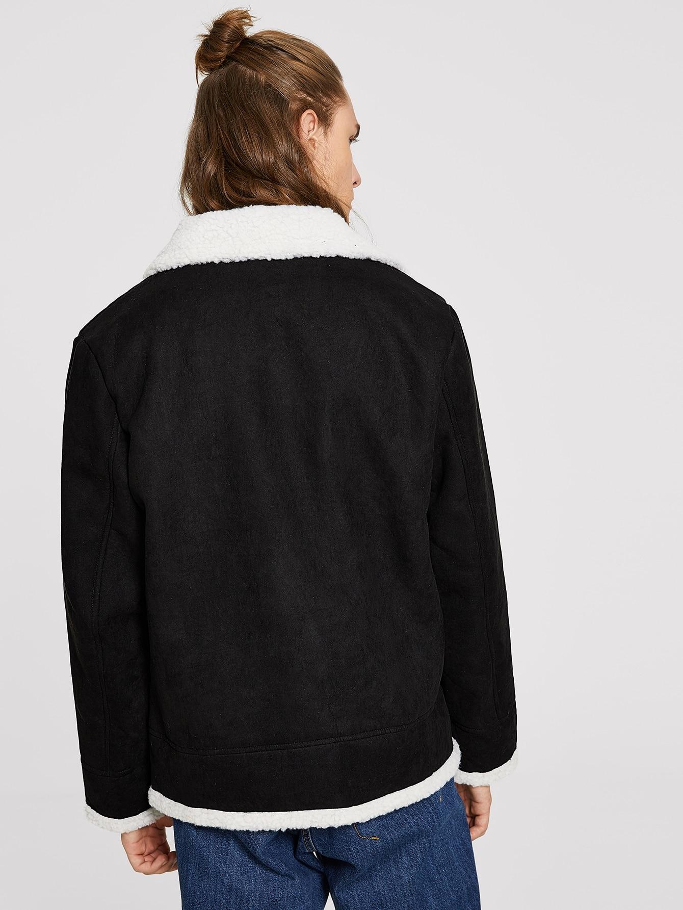 veste en fausse peau de mouton avec zip romwe. Black Bedroom Furniture Sets. Home Design Ideas