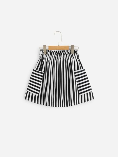 Girls Pocket Patched Striped Flare Skirt