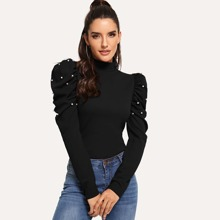 Pearl Beaded Puff Sleeve Mock-neck Blouse
