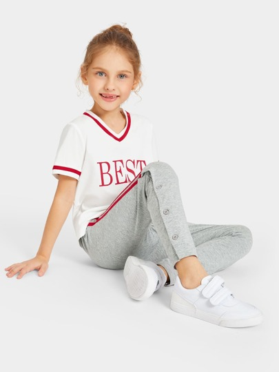 Girls Striped and Letter Graphic Top and Buttoned Pants Set