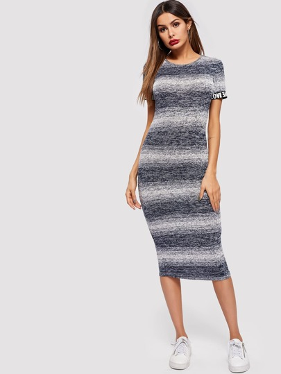 82089082d02 Contrast Letter Tape Space Dye Bodycon Hijab Dress