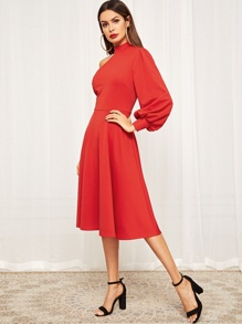 One Shoulder Lantern Sleeve Fit and Flare Dress