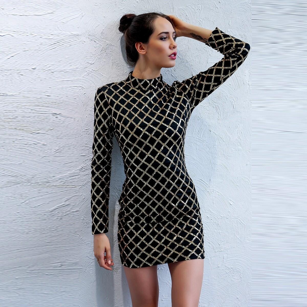 SHEIN coupon: Mock-neck Geo Sequin Bodycon Dress