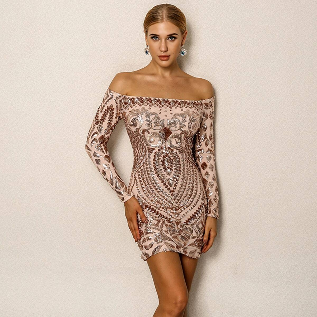 SHEIN coupon: Sequin Cluster Off Shoulder Bodycon Dress