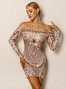 Joyfunear Sequin Cluster Off Shoulder Bodycon Dress
