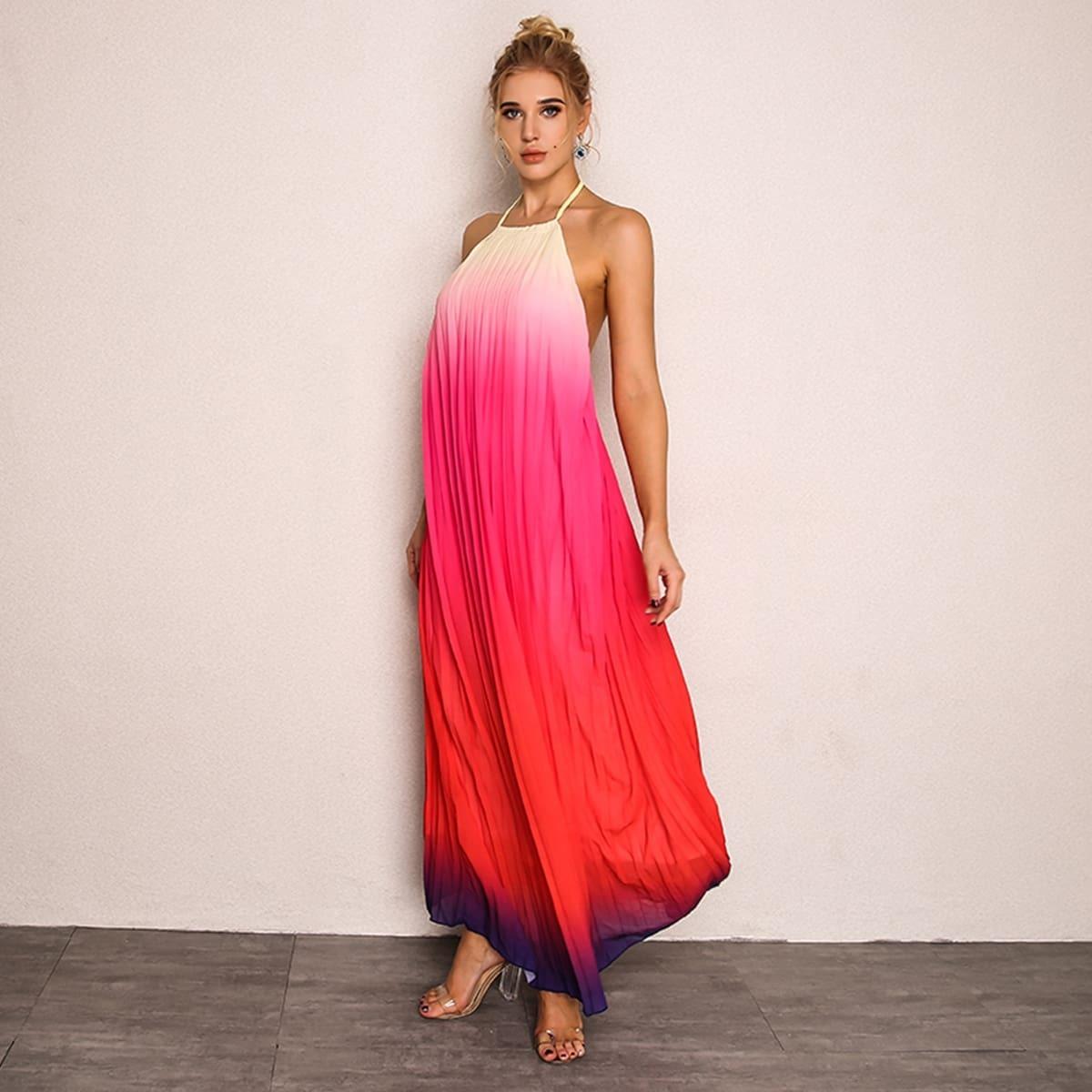 длинное платье-халтер с открытой спинкой