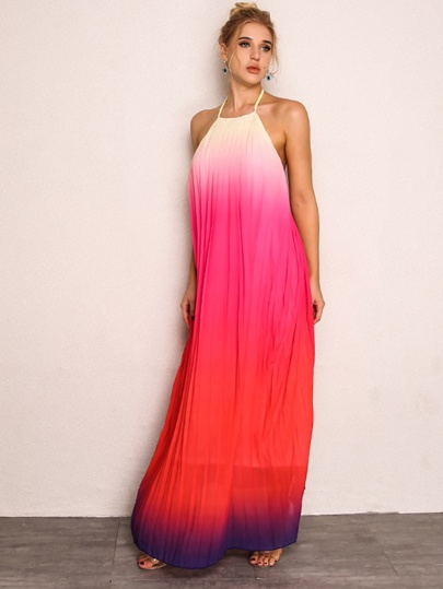 300b61165d Joyfunear Ombre Halter Maxi Dress