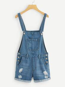 Pocket Front Ripped Detail Denim Romper