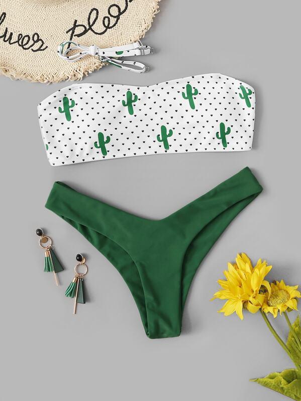 33c7dc05508f23 Random Cactus Print Bandeau With High Cut Bikini   SHEIN