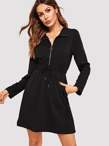 O-ring Zip Half Placket Drawstring Waist Dress