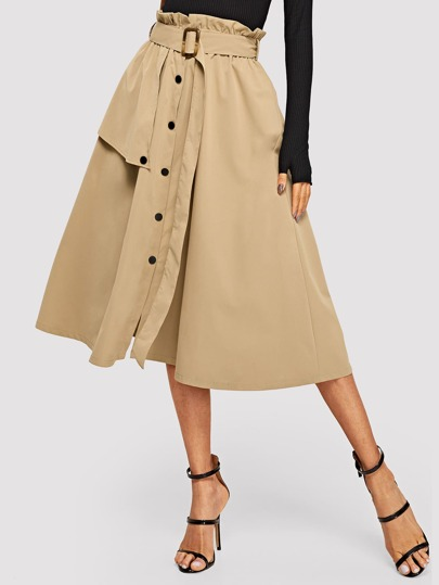 Button Front Belted Paperbag Utility Skirt