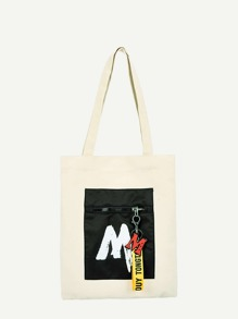 Letter Print Canvas Tote Bag