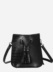 Tassel Decor Croc Embossed Shoulder Bag