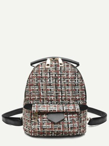 Blended Fabric Pocket Front Backpack