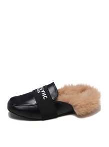 Faux Fur Lined Flat Mules