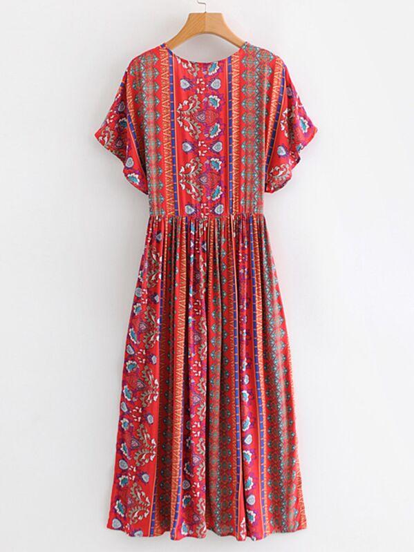 7b0051548e4e Floral Print Plunge Kimono Dress | SHEIN UK