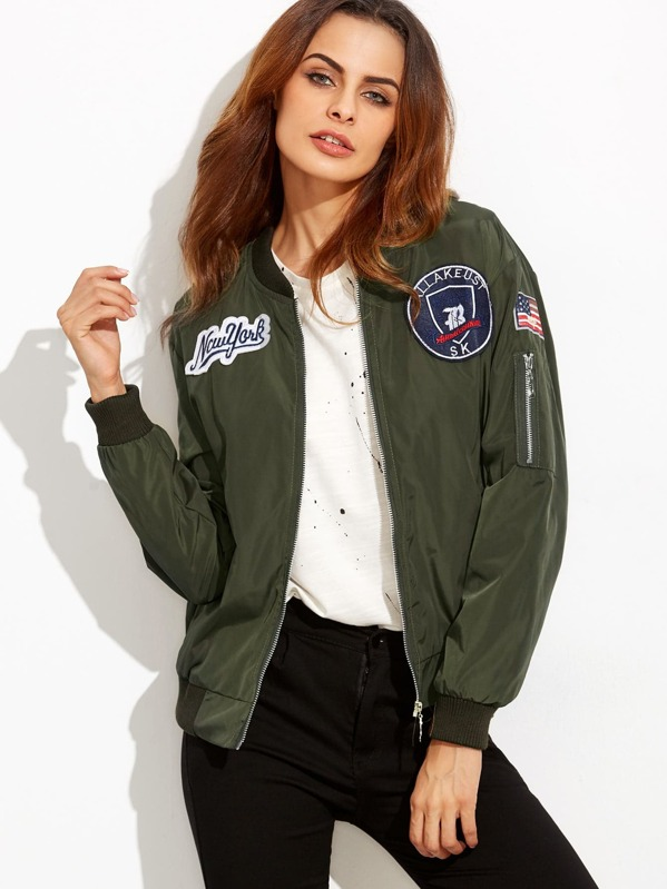 9cbb19e585380 Embroidered Badge Patches Zip Sleeve Bomber Jacket