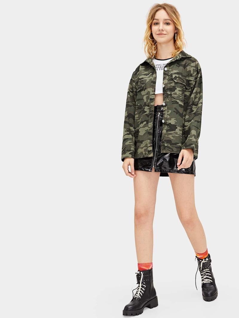 Veste Bouton Avec Imprimé Camouflage Et SMUVqzpG