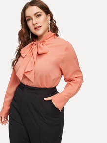 Plus Tie Neck Solid Blouse