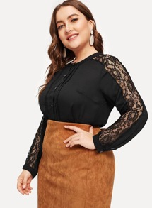Plus Button Through Lace Panel Sleeve Blouse