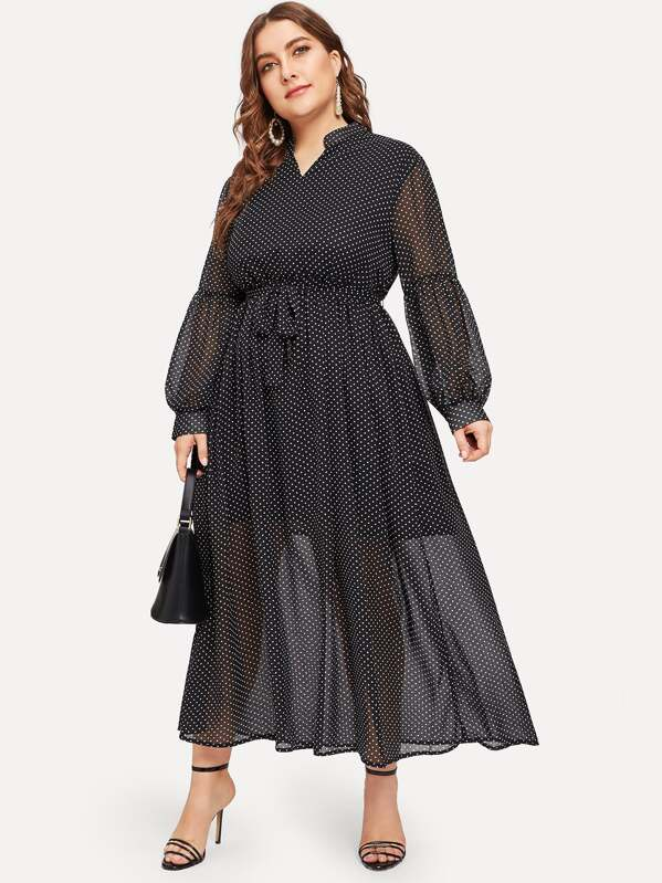 Plus Polka Dot Balloon Sleeve Belted Dress | SHEIN