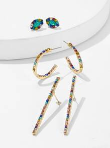 Color-block Rhinestone Bar & Hoop Earrings 3pairs