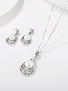 Faux Pearl Waterdrop  Pendant Necklace & Earrings 3pack