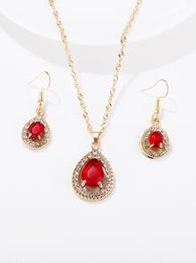 Gemstone Pendant Necklace & Earrings 3pack