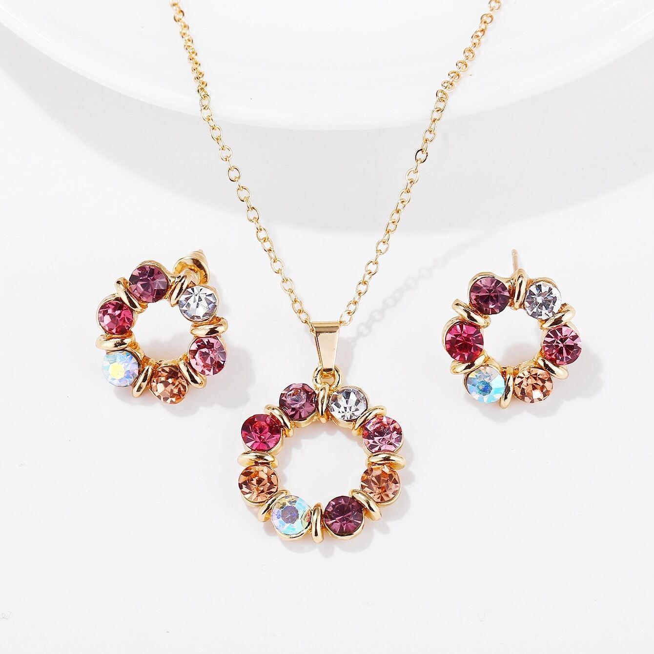 Ожерелье со стразами и серьги 3 шт от SHEIN