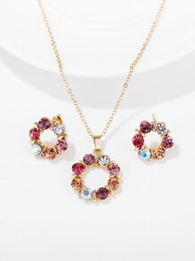 Rhinestone Circle Pendant Necklace & Earrings 3pack