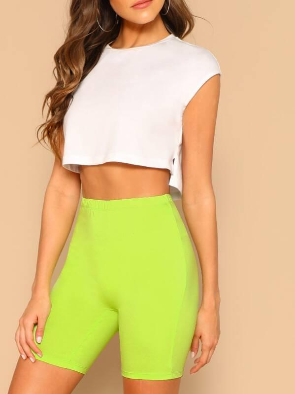 Neon Lime Elastic Waist Leggings Shorts by Shein