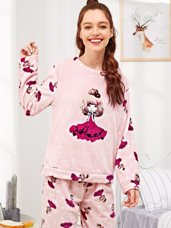 80feadbc22 Girl Print Polka Dot Plush Pajama Set | SHEIN
