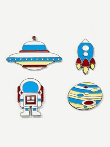 Astronaut & UFO Brooch Set 4pcs