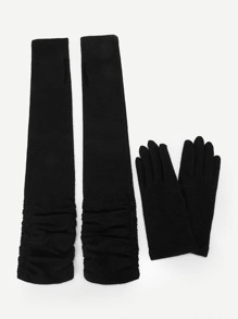 Sleeve Fingerless Gloves And Full Finger Gloves 4pcs
