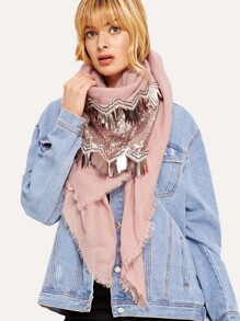 Frayed Trim Sequin Decorated Scarf