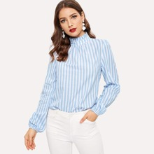 Frilled Neck Keyhole Back Striped Top