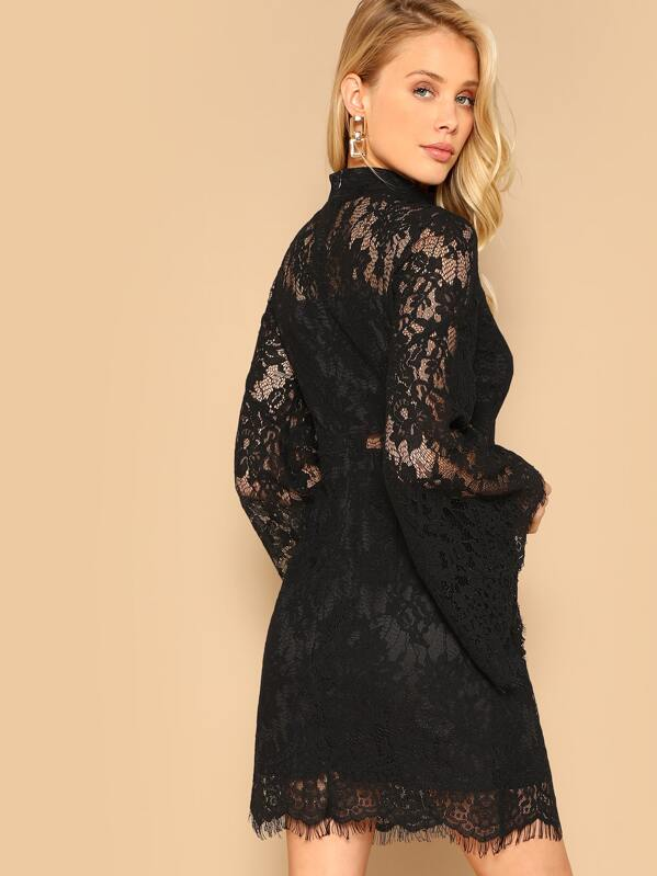 300b46d9c700 Mock-neck Bell Sleeve Floral Lace Dress | SHEIN