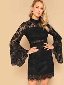 Mock-neck Bell Sleeve Floral Lace Dress