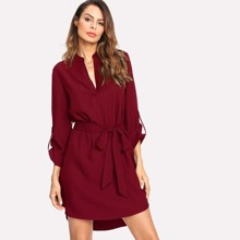 V Cut Self Belted Curved Hem Shirt Dress