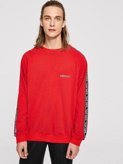M nner sweatshirt mit buchstaben band und raglan rmeln shein for Mobel 9 buchstaben