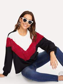 Faux Fur Detail Color Block Chevron Pullover