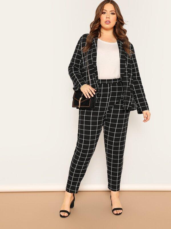 eb01fac9f61 Plus Shawl Collar Grid Blazer   Pants Set